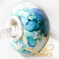 Aquarell Look Bead Cherish water blue, 925 Sterling Silber