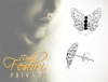 Privato Ohrstecker White shiny Butterfly 925 Silber, Kristall Elemente
